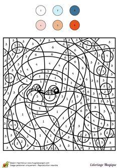 Coloriage magique niveauCM1 d'un portrait de père Noël - Hugolescargot.com