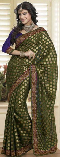 Deep olive green chanderi silk saree with blouse.