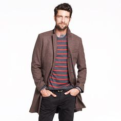 Mayfair topcoat, stripped sweater...