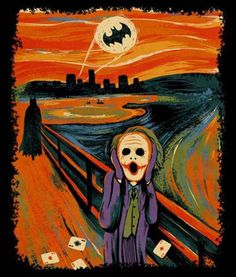 This art piece by artist depicts The Joker in the foreground with a scattered set of aces as Batman, The Dark Knight, approaches; Gotham City is silhouetted in the cityscape with the Bat Signal looming in the blood-red sky. Le Joker Batman, Der Joker, Joker And Harley Quinn, Joker Art, Gotham Batman, Batman Robin, Batman Humor, Superhero Humor, Real Batman