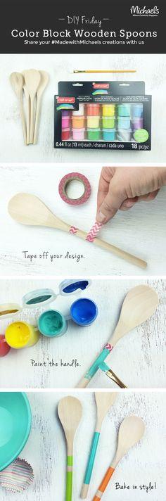 DIYFriday Color Block Wooden Spoons