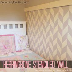 Herringbone Pattern Wall Stencils