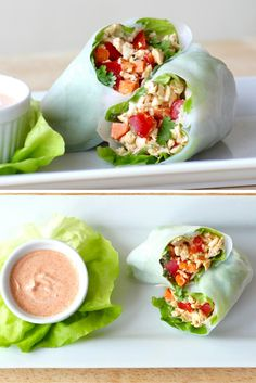 Thai Chicken Salad Spring Rolls | Healthy spring rolls filled with a flavorful Thai chicken salad are the perfect lunch or snack for warmer days. They are gluten free, a great source of protein and only100 calories each! | Via LivelyTable.com