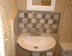 Pedestal sink backsplash powder bath pinterest funny for Backsplash ideas for bathroom sinks