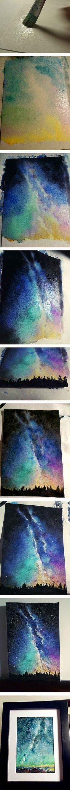 Watercolor sky Tutorial could also be used with tree rubber stamps instead of painting the landscape. Watercolour Tutorials, Watercolor Techniques, Painting Techniques, Watercolor Landscape Tutorial, Guache, Art Plastique, Art Tips, Art Tutorials, Painting Inspiration
