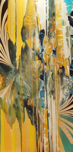Acrylic on Wood - Yellow, Green & Blue - Painting. Ahh just a gorgeous mix of abstract and patterns, so inspiring!