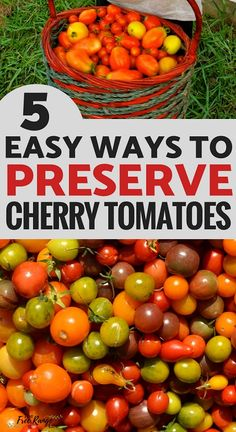 Simple and Delicious Ways to Preserve Cherry Tomatoes Preserving Food: Are you overrun with cherry tomatoes from your vegetable garden? Try one of these 5 easy way to preserve cherry tomatoes!Preserving Food: Are you overrun with cherry tomatoes from your Freezing Cherry Tomatoes, Canning Cherry Tomatoes, Preserving Tomatoes, Freezing Vegetables, Canning Vegetables, Fruits And Veggies, Preserving Food, Pickled Cherry Tomatoes Recipe, Pickled Tomatoes