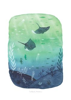 Blue and green underwater illustration by Nathalie Ouederni