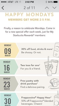 This is the latest BOGO free Starbucks Monday deals going on this March. See the schedule of free drinks and pastries offered this month.