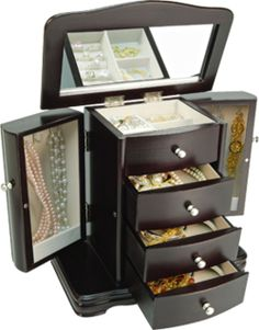 Petite 3 Drawer Armoire Jewelry Box With Java Finish Storage Organizer Jewellery Boxes, Jewellery Storage, Jewelry Box, Grown Up Christmas List, Dresser Top, Canada Shopping, Jewelry Armoire, Online Furniture, Java