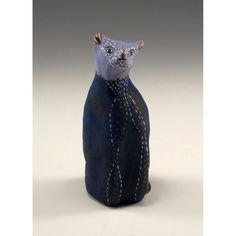 A Blue Cat  Jenny Mendes Ceramic Sculpture by jennymendes on Etsy