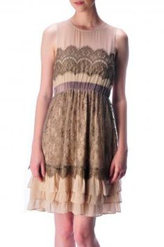 Burlesque Tale Lace Multi Color Tiered Dress in Brown By Ryu Collection | Sincerely Sweet Boutique