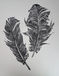 ✦ 'feather' - karen neal - linocut