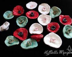 Red Ceramic Flowers - Handmade Ceramic Flowers - by Laura Pallatin of LaBelle Mariposa - Etsy