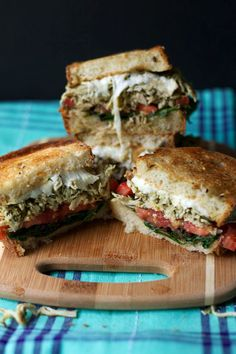 pesto chicken and mozzarella grilled cheese sandwich