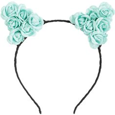 Teal Floral Cat Ear Headband Hot Topic ($8.90) ❤ liked on Polyvore featuring accessories, hair accessories, head wrap headband, hair band headband, rose headbands, floral hair accessories and cat hair accessories