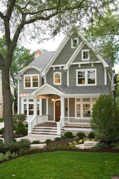 Grey and white traditional home