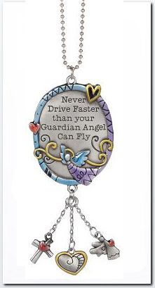 Ganz Color Art Car Charm - Never Drive Faster Guardian Angel $6.95