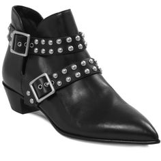 Marc by Marc Jacobs Carroll Studded Ankle Boot 35MM (3.030 ARS) ❤ liked on Polyvore featuring shoes, boots, ankle booties, black ankle booties, black bootie, black bootie boots, black pointed toe booties and black studded booties