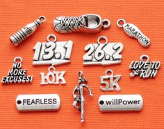 Running Charm Collection Antique Silver Tone 12 Different Charms - COL336