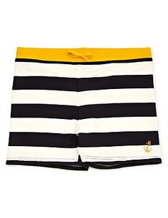 Navy Mix Chlorine Resistant Lycra® Xtra Life™ Striped Quick Dry Swim Shorts (5-14 Years)