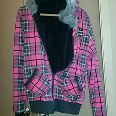 Reversible Jacket.... Nwt Adorable jacket, new with tags! Pink grey and back plaid on one side, black on the other side Spoiled  Jackets & Coats