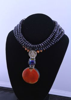 Dark Blue Gold Stone with X Large Pendant Choker Necklace