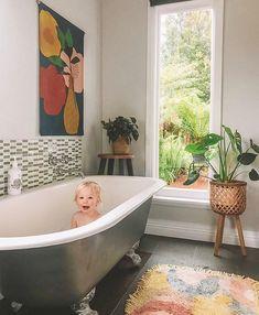 "Wall Art + Decor + Clothing on Instagram: ""Rub a dub dub, I spot a cutie in the tub!🛁 ⠀⠀⠀⠀⠀⠀⠀⠀⠀⠀⠀⠀ How gorgeous is this bathroom (and bub) from @d.arneyoung 😍 She makes a good case…"" Clawfoot Bathtub, Wall Art Decor, Bathroom, Wall Hangings, Instagram, Home, Clothing, Fabric, Washroom"