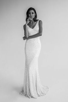 KWH by Karen Willis Holmes 'Antoinette' wedding gown.   Follow us - @KWHBridal | Photography - @beksmithjournal . #karenwillisholmes #bridetobe #sequinweddingdress #modernwedding  #kwhAntoinette