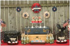 ideas for Old Suitcase Vintage Luggage | vintage-wwII-dessert-table-july-4th- vintage suitcase dessert table
