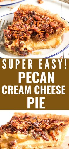 This delicious pie has a cream cheese layer on the bottom and a pecan pie layer on top. It's absolutely decadent. This delicious pie has a cream cheese layer on the bottom and a pecan pie layer on top. It's absolutely decadent. Pecan Desserts, Cream Cheese Desserts, Cream Cheese Recipes, Fun Desserts, Delicious Desserts, Dessert Recipes, Pecan Cream Cheese Pie Recipe, Pecan Recipes, Cream Cheeses