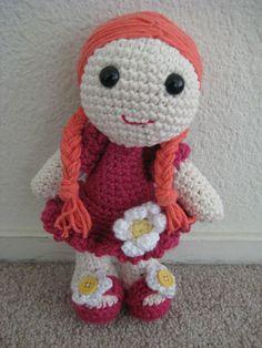 Crochet amigurumi doll #handmade #crochet #doll #pink #flowers