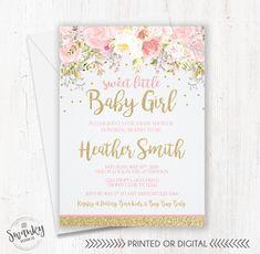Floral Blush Pink & Gold Glitter Baby Shower Invitation Girl
