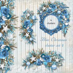 Blue Christmas Cluster Set 2 - Christmas Roses Sparkle