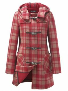 Red Pink check long duffle coat