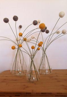 Craspedia - felted balls also called billy balls