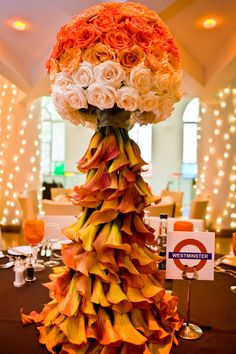 would love white calla lilies like this as a Christmas tree.orange, white, green roses and calla lilies. Orange Wedding, Floral Wedding, Fall Wedding, Wedding Flowers, Apricot Wedding, Elegant Wedding, Wedding Reception, Wedding Ideas, Deco Floral