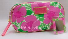 Estee Lauder Cosmetic Make-up Bag Lilly Pulitzer Floral Pink with Mirror New #EsteLauder