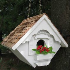 Painted Bird Houses from $34.95 with Free Shipping! Wren Decorative Bird House with cedar shingles available in multiple colors.