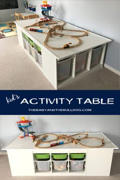 DIY Kid's Activity Table | Ikea Trofast Hack Perfect for trains, cars & legos with tons of storage! thebabyandthebulldog.com
