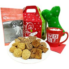 Dogs will go nuts over this assortment of fun and delicious treats! There's even a cheerful gift included for the lucky pet parent. Everything is neatly bundled in a decorative gift box that will be the perfect adornment for any holiday home.    http://www.ebay.com/itm/Holiday-Gift-Basket-Dogs-/201471651066?hash=item2ee8a56cfa