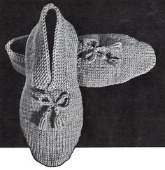 NEW! Men's Knitted Slippers pattern from Hats-Mittens-Socks, Coats & Clark's Book No. 135 from 1962.