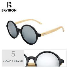 93a05f7abe BAVIRON Vintage Bamboo Steampunk Sunglasses Women Retro Round Wooden Sun  Glasses for Men Women with
