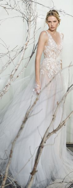 Mira Zwillinger Whispher Of Blossom Spring 2017 Wedding Dress - Deer Pearl Flowers / http://www.deerpearlflowers.com/wedding-dress-inspiration/mira-zwillinger-whispher-of-blossom-spring-2017-wedding-dress/