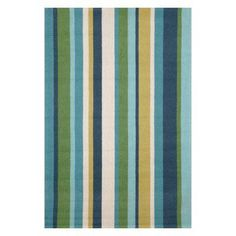Liora Manne Import Co Newport Vertical Stripe Indoor / Outdoor Rugs Aqua - NWP23166004, Durable