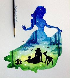 Disney World Print Watercolor By LACOTEDESIGN