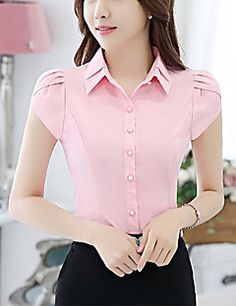 Feminino Camisa Social Para Noite, Rosa,Poliéster Colarinho Chinê,s Manga Curta Média Blouse Styles, Blouse Designs, Stil Inspiration, African Blouses, Office Outfits Women, Kurti Designs Party Wear, Indian Designer Outfits, Couture Tops, Types Of Fashion Styles