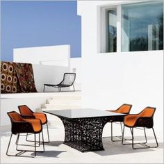 Shop for Modern Aluminum Outdoor Dining Set to match your style and budget at CozyDays Outdoor Tables And Chairs, Outdoor Dining Set, Outdoor Spaces, Dining Table, Patio Dining, Outdoor Living, Outdoor Furniture Design, Modern Furniture, Table Frame