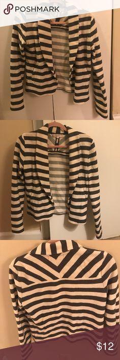 Stripped cotton blazer Soft summery blazer with grey and white stripes. Hardly worn LOFT Jackets & Coats Blazers