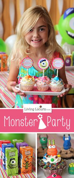 Cute Monster Birthday Party Ideas with Free Party Printables. LivingLocurto.com #monstersu #freeprintables